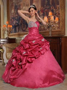 Red Sweetheart Beaded Quinceanera Dress with Pick-ups on Promotion