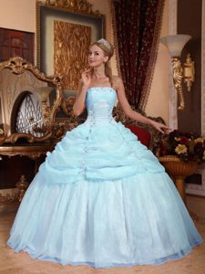 Light Blue Strapless Organza Quinceanera Dress with Appliques on Promotion