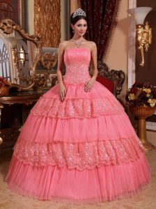 Beautiful Strapless Organza Lace Quinceanera Dress with Appliques for Cheap