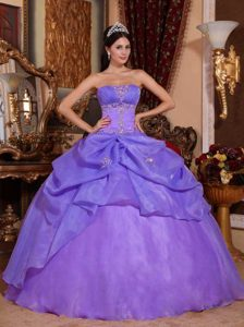 Pretty Purple Strapless Organza Beaded 2014 Quinceanera Gown Dress for Cheap