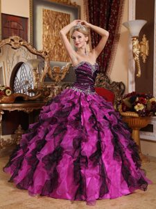 MultiColor Sweetheart Organza Beaded and Ruffled Sweet 16 Quinceanera Dress