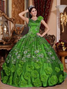 Luxurious Green V-neck Satin Beaded and Appliqued Quinceanera Gown Dresses