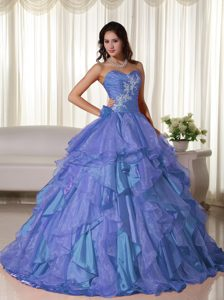 Sweetheart Organza Quinceanera Dress with Appliques and Ruching for Cheap