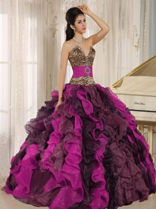 Wholesale Colorful Leopard and Beaded V-neck Quinceanera Dress with Ruffles