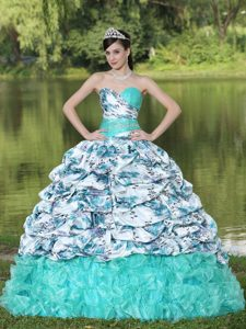 Colorful Printed Organza Beaded Quinceanera Dress with Pick-ups and Ruffles