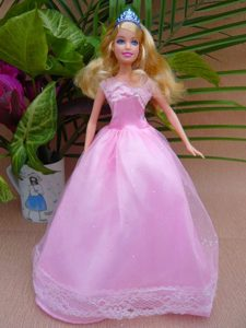 Sweet A-line and Floor-length For Party Barbie Doll Dress