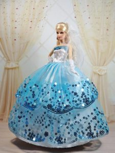 Sequin Decorate and Ball Gown Dress for Noble Barbie