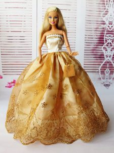 Lovely Ball Gown Handmade Gold Appliques Barbie Doll Dress
