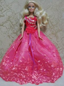 Luxurious Red Ball Gown With Hand Made Flowers and Appliques Party Clothes Fashion Dress for Noble Barbie