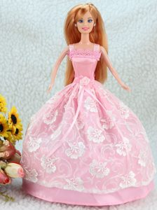 Lovely Baby Pink Ball Gown Straps With Sash and Lace Party Clothes Fashion Dress For Noble Barbie