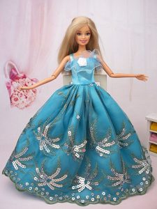 Exclusive Ball Gown Teal Beading Hand Made Flower Barbie Doll Dress