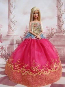 Elegant Ball Gown Organza Colorful Barbie Doll Dress