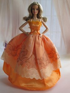 Beautiful Ball Gown Yellow Barbie Doll Dress