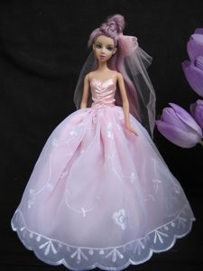 Pink Embroidery Ball Gown Taffeta and Organza Barbie Doll Dress