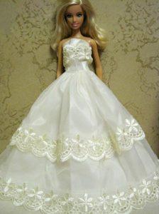 Beautiful Organza Embroidery White Barbie Doll Dress