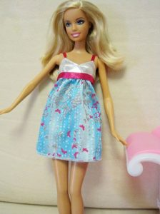 Beaded Ombre Color Dress With Straps Mini-length Barbie Doll Dress