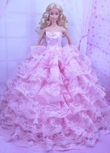 Exclusive Pink Gown With Ruffled Layers Dress For Barbie Doll