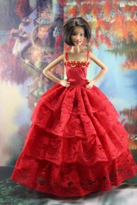 Amazing Red Lace Party Dress Made To Fit the Barbie Doll
