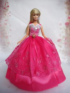 Popular Red Sweetheart Lace Party Clothes Fashion Dress for Noble Barbie
