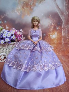 Handmade Dresses Lilac Lace Fashion Party Clothes Gown Skirt For Barbie Doll