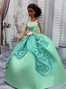 The Most Amazing Apple Green Appliques Dress With Hand Made Flower Made to Fit The Barbie Doll