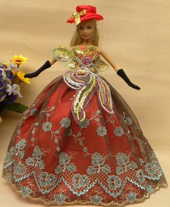 Pretty Appliques Rust Red Strapless Party Clothes Fashion Dress for Noble Barbie