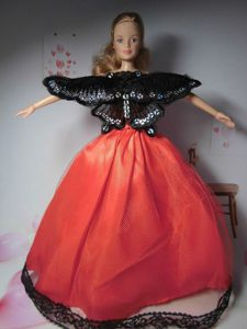 Beautiful Red Party Clothes Fashion Dress for Noble Barbie Doll