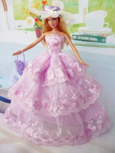Elegant Pink Gown Organza Made to Fit the Barbie Doll