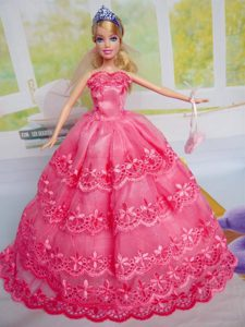 Gorgeous Hot Pink Party Clothes Organza for Noble Barbie Doll