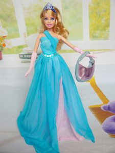 Beautiful Chiffon Blue Chiffon Party Dress for Noble Barbie Doll