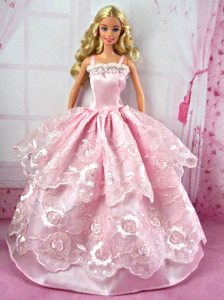 Pretty Pink Party Clothes Lace Fashion Dress for Noble Barbie Doll