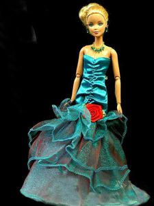 Gorgeous Teal Party Clothes Fashion Dress Sequins for Noble Barbie Doll