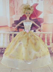 Elegant Handmade Dress With Flower Made to Fit the Barbie Doll