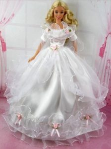 Beautiful Wedding Dress With Flower Gown For Barbie Doll