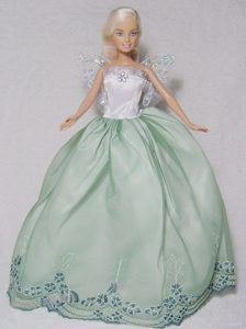 Apple Green and White Gown With Embroidery For Barbie Doll