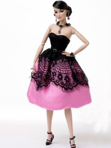 New Beautiful Rose Pink Handmade Party Clothes Fashion Dress for Noble Barbie
