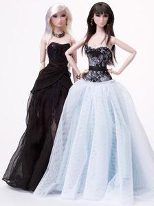 Pretty Handmade Tulle White Appliques Barbie Doll Dress