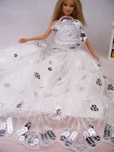 Beautiful Hand Made Flower Sequin Barbie Doll Dress