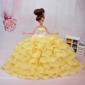 Popular Yellow Floor-length Party Clothes Fashion Dress For Noble Barbie