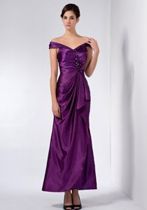 off-the-shoulder Ankle-length Purple Ruched Beaded Mother of Bride Dresses
