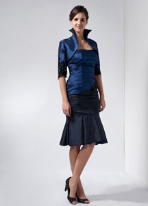 Navy Blue and Black Strapless Knee-length Mother of Bride Dress with Jacket