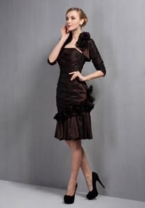 Strapless Knee-length Brown Ruched Mother Bride Dress with Jacket and Flower