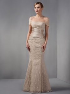 2014 off-the-shoulder Long Champagne Mermaid Mother of Bride Dress