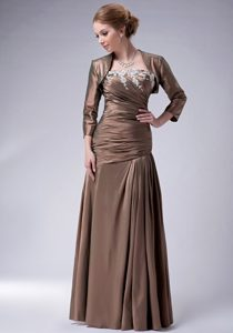 Ruched Strapless Long Brown Appliqued Mother Bride Dress with Jacket