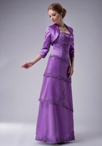 Purple Long Layered Mother of Bride Dress with Appliques and Jacket