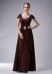 2014 Brown Straps Long Ruched Mother of Bride Dress with Appliques
