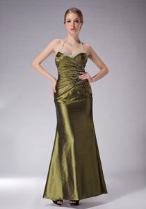 Halter Olive Green Ankle-length Ruched Mother of Bride Dresses with Beading