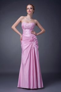 Strapless Long Rose Pink Mother of Bride Dress with Appliques