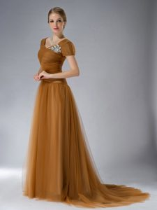Short Sleeves Brush Train Brown Tulle Mother of Bride Dress with Appliques