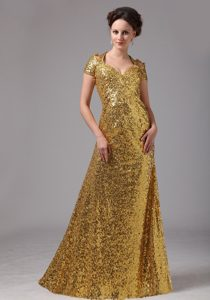 Custom Made Short Sleeves Long Gold Sequin Mother of Bride Dress